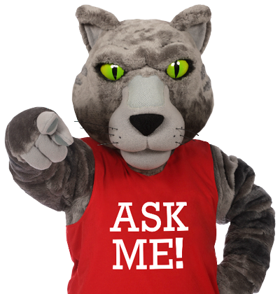 "Wild Cat mascot with a red ""Ask Me!"" shirt"