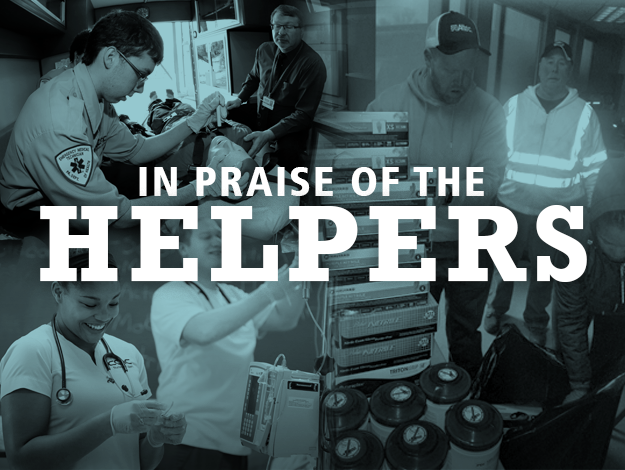 Text: In praise of the helpers with first responders collage in background