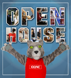 Wild Cats mascot and open house sign